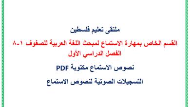 Photo of القسم الخاص بمهارة الاستماع لمادة اللغة العربية للصفوف 1-8 للفصل الدراسي الأول