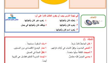 صورة إجابة الدروس 1-3 من المادة الاستدراكية لمبحث اللغة العربية للصف التاسع