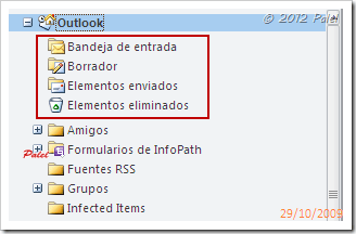 Orden de carpetas en Outlook 2010