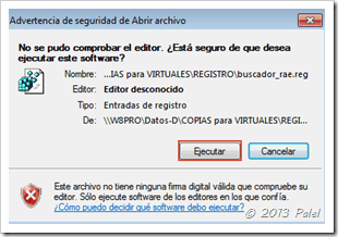 Mensaje de advertencia para introducir la clave en el registro de Windows