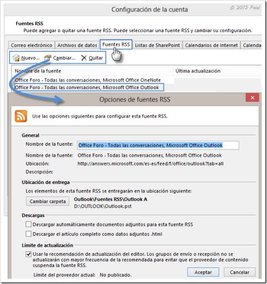 Fuentes RSS en Outlook 13