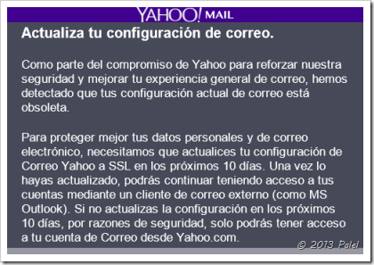 Correo de aviso enviado por Yahoo