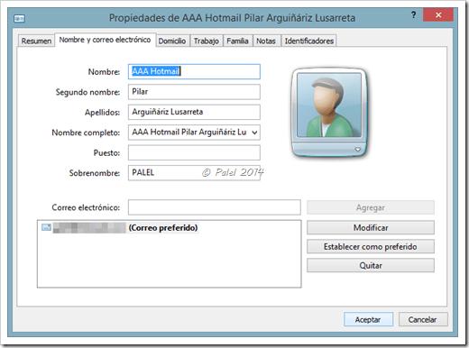 Exportar contactos desde WAB a Outlook 2013