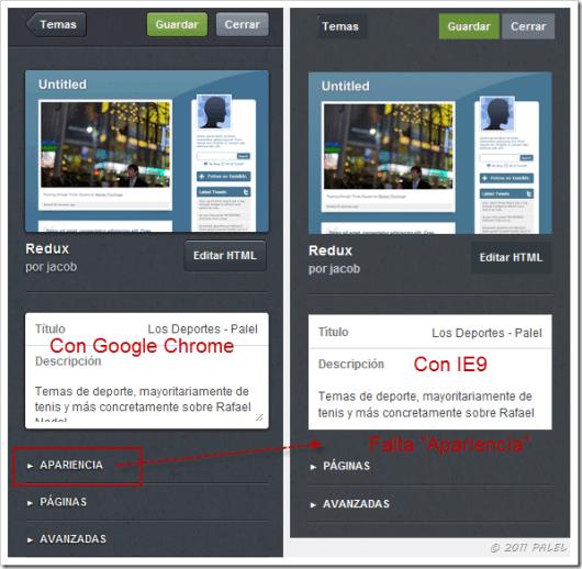 Visualización de la personalización con Chrome e IE9