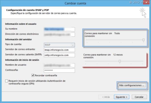 Propieades de configuración de una cuenta IMAP