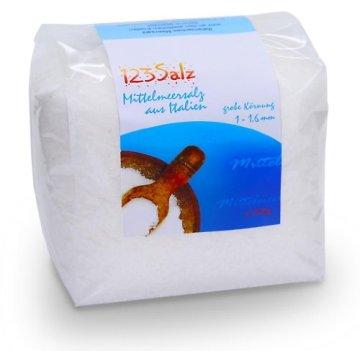 123Salz -Mittelmeersalz, Meersalz aus Italien, 1kg Vorratsbeutel - 1