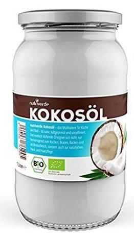 BIO Kokosöl - 1 x 1000mL (1L) - in wiederverschliessbarem Glas - 1