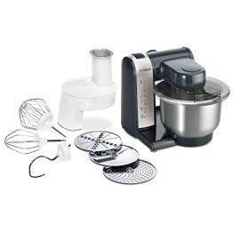 Bosch MUM48A1 Küchenmaschine (600 Watt, 3,9 Liter, Edelstahl-Rührschüssel, Durchlaufschnitzler, Rezept DVD) schwarz - 1