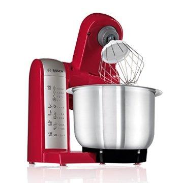 Bosch MUM48R1 Küchenmaschine MUM4 (600 Watt, 3.9 Liter, Edelstahl-Rührschüssel, Durchlaufschnitzler, Rezept DVD) rot - 5