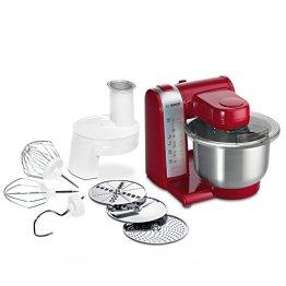 Bosch MUM48R1 Küchenmaschine MUM4 (600 Watt, 3.9 Liter, Edelstahl-Rührschüssel, Durchlaufschnitzler, Rezept DVD) rot - 1