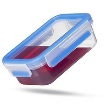 Emsa 508545 Rechteckige Frischhaltedose mit Deckel, 2.6 Liter, Transparent/Blau, Clip & Close - 6