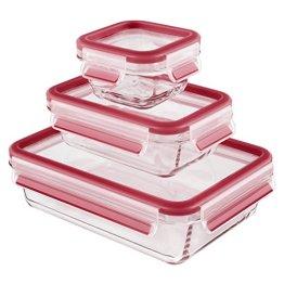 Emsa 514169 3-teiliges Frischhaltedosenset mit Deckel, Glas, Volumen 0.2, 0.5 und 1.3 Liter, Rot, Clip & Close - 1