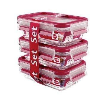 Emsa Clip & Close Glas 3-Teilig Frischhaltedosen Set 3 x 0, 5 Liter, Kunststoff, Rot, 17.5 x 12.5 x 17.8 cm, 3-Einheiten -