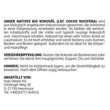 Kokosöl nativ Bio Qualität (1000ml) Hautpflege Haarpflege Kochen Braten Backen Fellpflege aus erster Kaltpressung - 7