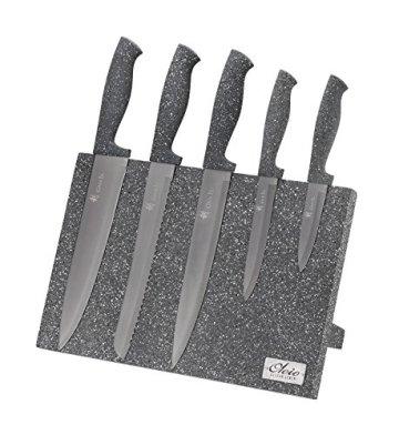 Magnetisches Messerbrett - Holz Messerblock mit Marmorbeschichtung, mit 5tlg Messer Set - 1