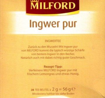 Milford Ingwer pur (nicht aromatisiert) 28 TB, 2er Pack (2 x 56 g Packung) - 2
