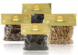 Nudelly's Quattro Premium, glutenfreie Pasta im 4er-Pack, low-carb, paleo, Kürbiskernmehl, Sesammehl, Mohnmehl, Eier-Nudeln mit Tapioka-Stärke als Tagliatelle u. Fusilli - 1