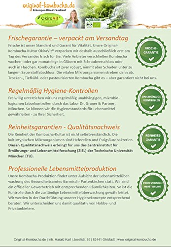 Original-Kombucha-Teepilz Premium Qualität + Bio-Kombucha-Getränk für 5 L, Anleitung + Anwuchsgarantie. Aus dem Heilbad Bad Kohlgrub. - 6