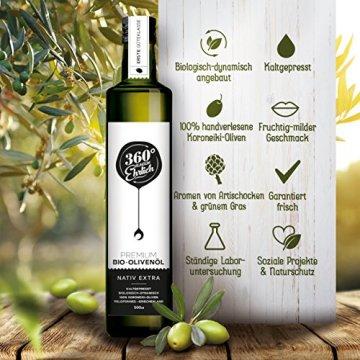 Premium Bio Olivenöl nativ extra | (Griechenland Kalamata / Sparta) von 360° rundum ehrlich | Mild, fruchtig, köstlich | Kaltgepresst, biodynamischer Anbau | Sortenreine Koroneiki-Oliven | 500ml - 2
