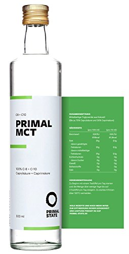 PRIMAL MCT Öl in Glasflasche | Extrakt aus Kokosöl | Geschmacksneutral | Caprylsäure (C-8) und Caprinsäure (C-10) | Bulletproof Coffee | MCT Oil - 500ml - 1