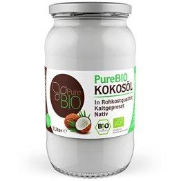 PureBIO Kokosöl 1.000 ml (1L) für HAARE, HAUT und zum KOCHEN - Kokosöl bio, nativ und kaltgepresst - 1