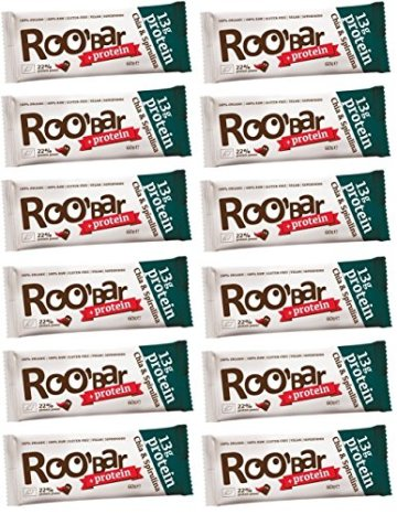 ROOBAR Protein Chia & Spirulina 60g x12 (12er-Pack) Rohkost-Riegel mit Superfoods (bio, roh, vegan, glutenfrei) -