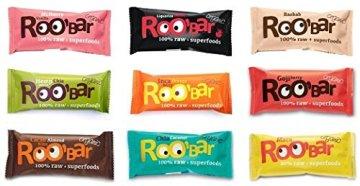 ROO'BAR Rohkost Riegel mit Superfoods 30g x 9 Stück (bio, vegan, roh) Set 9 Sorten (9x30g) - 1