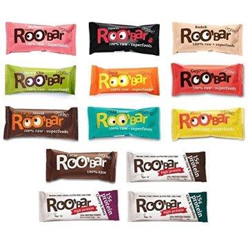 ROOBAR Set Rohkost-Riegel alle 13 Sorten á 50g/60g inkl. Protein (bio, roh, vegan, glutenfrei) Set13x50/60g - 1