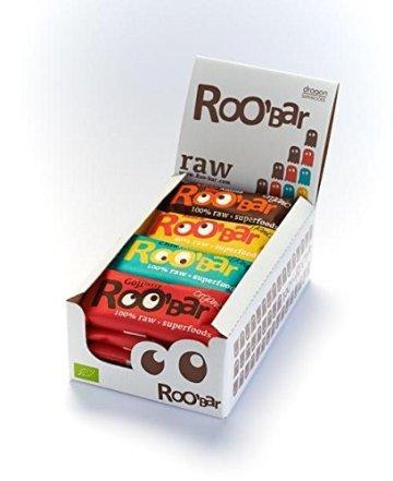 ROO'BAR Super Mix – 16 Stück á 50g (4x Goji Berry, 4x Cacao Nibs, 4x Maca Cranberry, 4x Chia Coconut) – Rohkost-Riegel mit Superfoods (bio, vegan, glutenfrei, roh) -