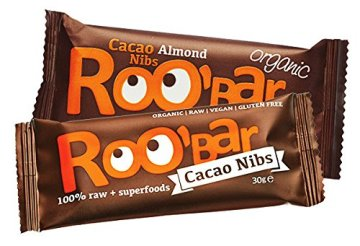 ROO'BAR Super Mix - 16 Stück á 50g (4x Goji Berry, 4x Cacao Nibs, 4x Maca Cranberry, 4x Chia Coconut) - Rohkost-Riegel mit Superfoods (bio, vegan, glutenfrei, roh) - 3
