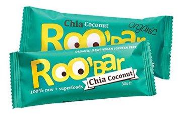 ROO'BAR Super Mix - 16 Stück á 50g (4x Goji Berry, 4x Cacao Nibs, 4x Maca Cranberry, 4x Chia Coconut) - Rohkost-Riegel mit Superfoods (bio, vegan, glutenfrei, roh) - 4