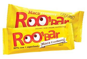 ROO'BAR Super Mix - 16 Stück á 50g (4x Goji Berry, 4x Cacao Nibs, 4x Maca Cranberry, 4x Chia Coconut) - Rohkost-Riegel mit Superfoods (bio, vegan, glutenfrei, roh) - 5