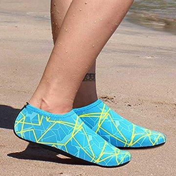 SITAILE Sommer Aqua Schuhe Barfuß Weich Wassersport Yoga Schuhe Strandschuhe Schwimmschuhe Surfschuhe für Damen Herren,Grün,XL,EU40-42 - 5
