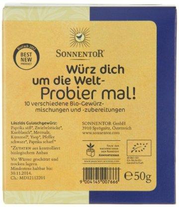 Sonnentor Probier mal! Würz dich um die Welt 10 Einzelgewürze á 5g, 1er Pack (1 x 50 g) - Bio - 7