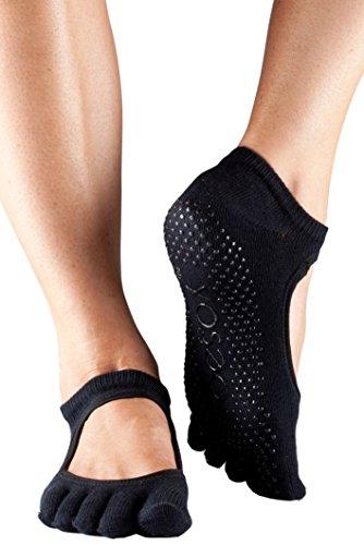 ToeSox Frauen 1 Paar Bella Voll Toe Organic Cotton vorne offen Yoga Socks In Fuchsia, Black, Small -