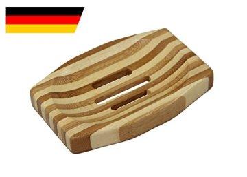 """TREELY """"Lea"""" edle Natura Seifenschale oval-eckig aus Holz / Bambus im Stäbchen-Farbenmix, handgemachter Seifenhalter, abgerundete natürliche Seifenbox - 1"""