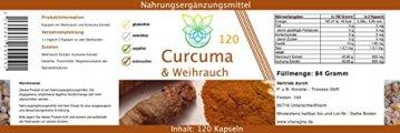 VITARAGNA Curcuma und Weihrauch 120 Kapseln Qualitätsprodukt mit Kurkuma-Extrakt und Weihrauch-Extrakt, Kurkuma Kapseln - 2