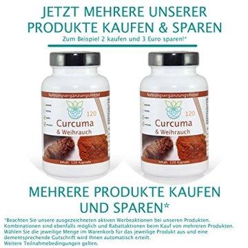 VITARAGNA Curcuma und Weihrauch 120 Kapseln Qualitätsprodukt mit Kurkuma-Extrakt und Weihrauch-Extrakt, Kurkuma Kapseln - 6