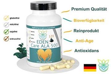 VITARAGNA Eden Care ALA Alpha-Liponsäure Plus 120 Kapseln Plus, hochdosiert mit 500 mg pro Kapsel, Antioxidantien, Anti-Aging & Fatburner für Mann und Frau - 3