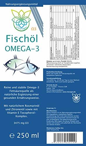 VITARAGNA Omega 3 Fischöl (Lachsöl) mit Zitronenöl und Rosmarin-Extrakt, 250ml, mit natürlichem Vitamin E-Tocopherol-Komplex, Hoher EPA und DHA Anteil - 2