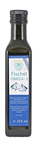 VITARAGNA Omega 3 Fischöl (Lachsöl) mit Zitronenöl und Rosmarin-Extrakt, 250ml, mit natürlichem Vitamin E-Tocopherol-Komplex, Hoher EPA und DHA Anteil - 1