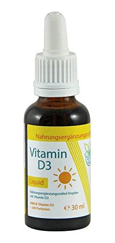 VITARAGNA Vitamin D Tropfen, hochdosiertes Vitamin D3 Liquid mit 1000 I.E. je Tropfen, Vitamin-D3 Cholecalciferol in Kokosöl gelöst, Hohe Bioverfügbarkeit mit MCT-Öl und Vitamin-E - 30ml - 1