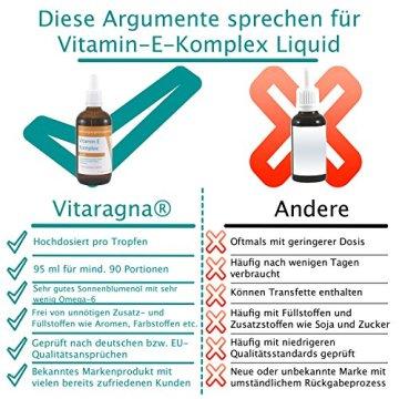 VITARAGNA Vitamin-E Komplex flüssig, natürliches Tocopherol, Vitamin-E Öl in bioaktiver Form in hochwertigem Sonnenblumenöl gelöst als hochdosiertes Liquid mit 100 IE in 1g - 95ml - 3