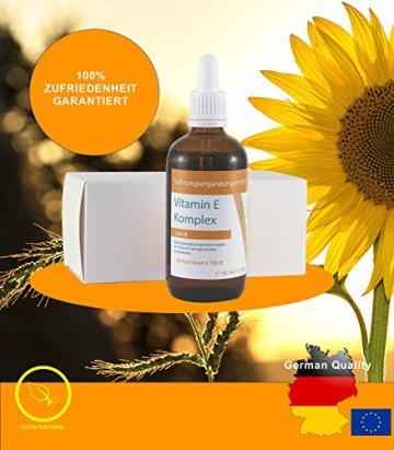 VITARAGNA Vitamin-E Komplex flüssig, natürliches Tocopherol, Vitamin-E Öl in bioaktiver Form in hochwertigem Sonnenblumenöl gelöst als hochdosiertes Liquid mit 100 IE in 1g - 95ml - 7