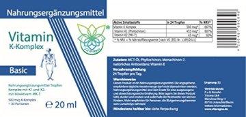 VITARAGNA Vitamin K2 Basic Tropfen flüssig, K1 und K2 - Menaquinon MK7, hochdosiertes Liquid in MCT-Öl gelöst und bioaktiver MK-7-Form 20ml mit 500 mcg K-Komplex x 30 Portionen - 2