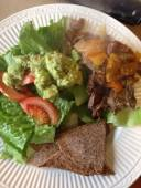 Tasty spicy beef roast with greens & homemade paleo chips.