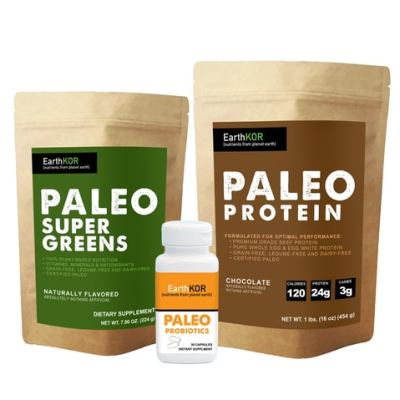 earthKOR certified paleo protein greens and probiotics