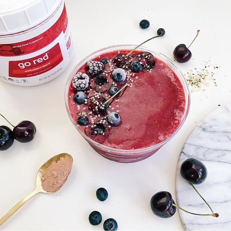 Cherry Bomb Smoothie with Go Red powder - Healthy Truth - Certified Paleo, Paleo Vegan - Paleo Foundation - Paleo Diet - Paleo Lifestyle