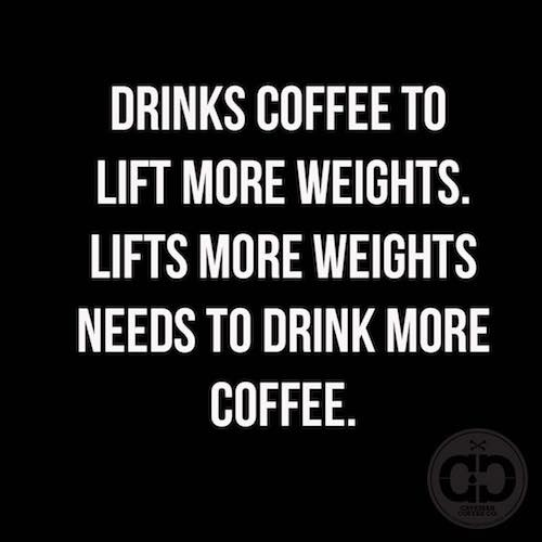 Drinks Coffee to lift weights - Caveman Coffee Co. - Certified Paleo - Paleo Foundation