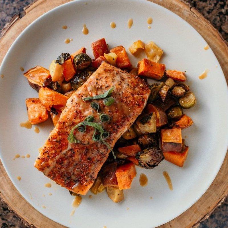 Heart Healthy Paleo Baked Salmon Sheetpan Dinner - Paleo Powder Seasonings - Certified Paleo - Paleo Foundation